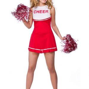 Cheerleader Punainen Naamiaisasu